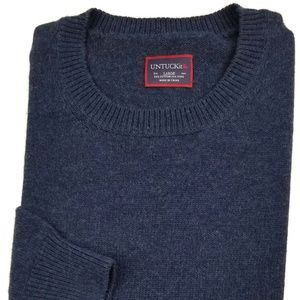UNTUCKit Crewneck Sweater Large Navy Wool Men Sz L